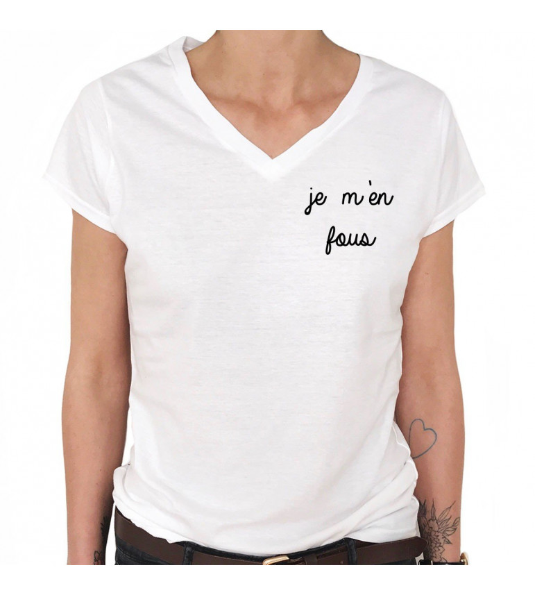T-shirt Col V Femme JE M'EN FOUS