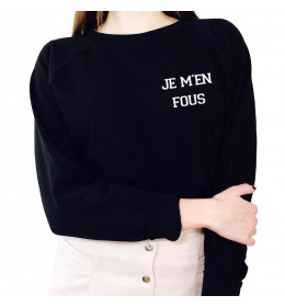 Woman embroidered Sweater JE M'EN FOUS