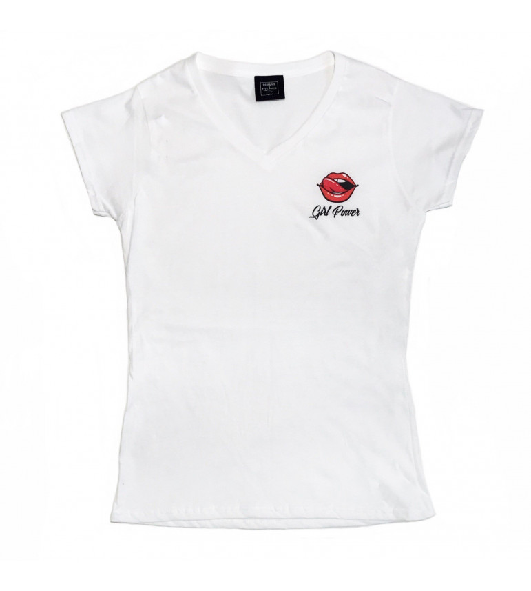 3b7352e2ba70 T-shirt Col V Femme BOUCHE GIRL POWER - LUXE FOR LIFE De Paris