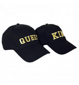CASQUETTES BRODERIE OR QUEEN ET KING