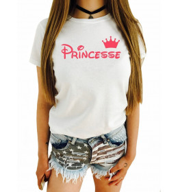 Woman T-shirt PRINCESSE pink couronne
