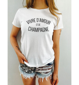 T-shirt femme VIVRE D'AMOUR ET DE CHAMPAGNE