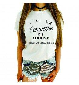 Woman T-shirt CARACTERE DE MERDE COEUR EN OR