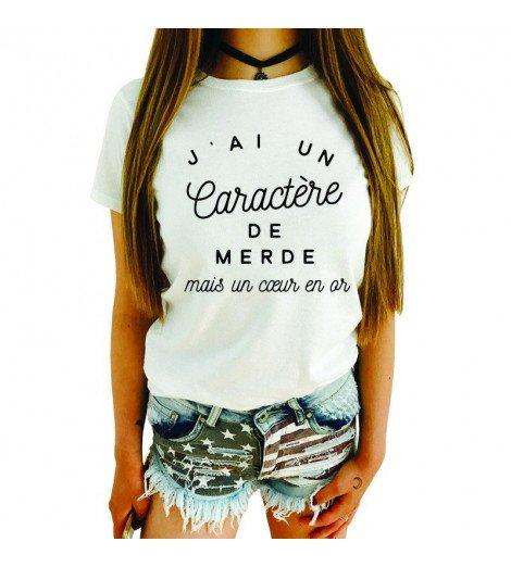 T-shirt femme CARACTERE DE MERDE COEUR EN OR