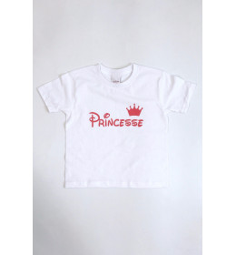 KIDS T-SHIRT PRINCESSE COURONNE ROSE