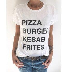 T-SHIRT FEMME PIZZA BURGER KEBAB FRITES