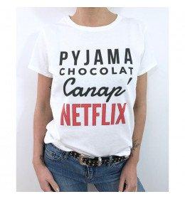 Woman T-shirt PYJAMA CHOCOLAT CANAP NETFLIX