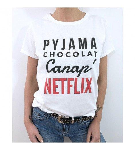 T-shirt Femme PYJAMA CHOCOLAT CANAP NETFLIX