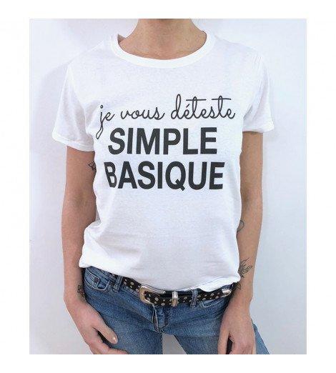 T-shirt Femme JE VOUS DÉTESTE SIMPLE BASIQUE