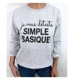 Woman Sweater JE VOUS DÉTESTE SIMPLE BASIQUE