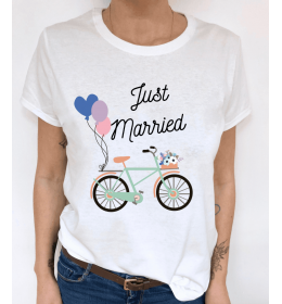woman t-shirt VELO JUST MARRIED