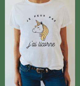 woman t-shirt JE PEUX PAS J'AI LICORNE
