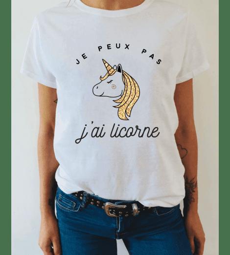 t-shirt femme JE PEUX PAS J'AI LICORNE