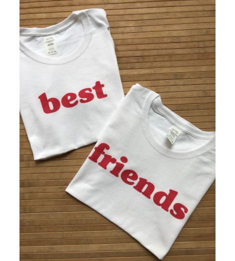 duo t-shirts femme BEST FRIENDS ROUGE