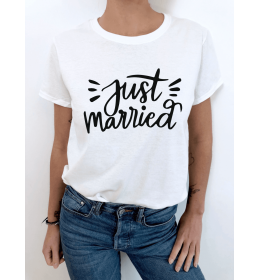 woman t-shirt JUST MARRIED