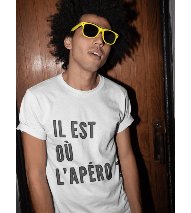 T-shirt homme IL EST OU L'APÉRO ?
