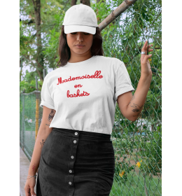 woman t-shirt MADEMOISELLE EN BASKETS red