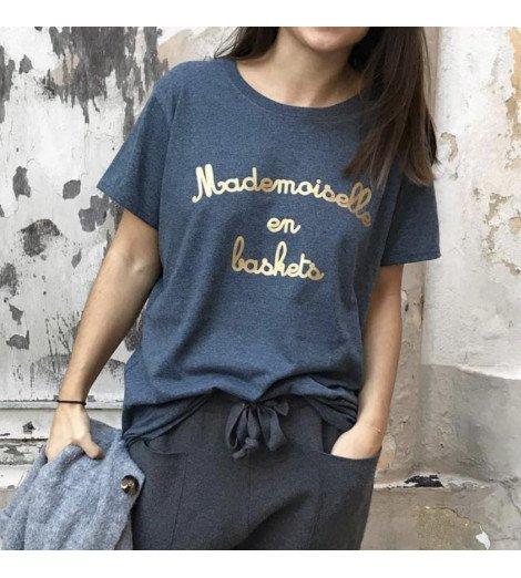 T-shirt Femme MADEMOISELLE EN BASKETS doré