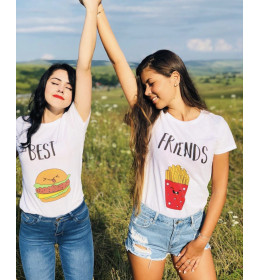 duo t-shirts femme BEST FRIENDS BURGER FRITES