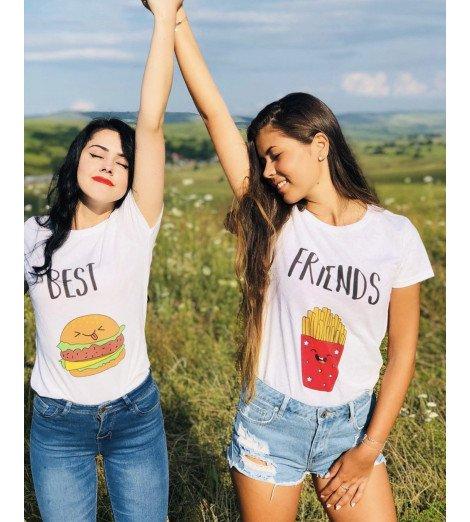 duo t-shirts femme BEST FRIENDS BURGER FRITES