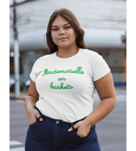 T-shirt femme MADEMOISELLE EN BASKETS vert